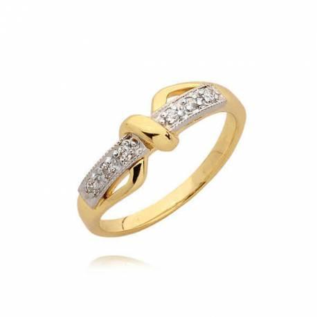 Orginalny pierścionek ze złotym splotem