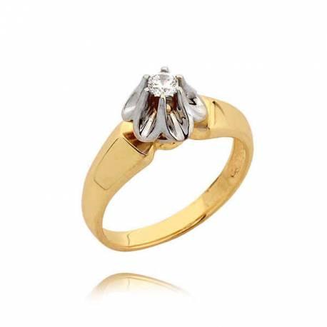 Delikatny złoty pierścionek z cyrkonią