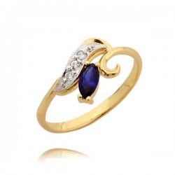 Orginalny złoty pierścionek z cyrkoniami i szafirem