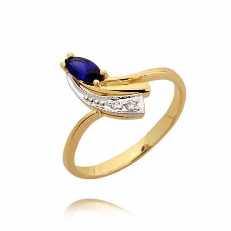 Orginalny złoty pierścionek z szafirem