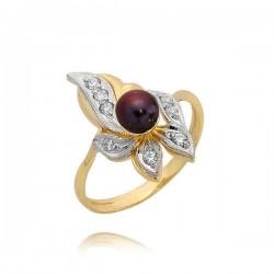 Złoty pierścionek z perłą model N161