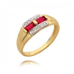 Śliczny pierścionek z różowymi cyrkoniami