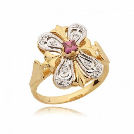 Ślicznie zdobiony pierścionek z różową cyrkonią
