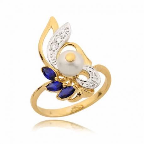 Złoty perścionek z szafirami i perłą