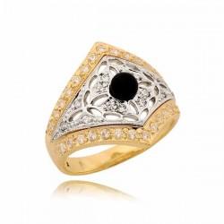 Przepiękny pierścionek z czarną perłą