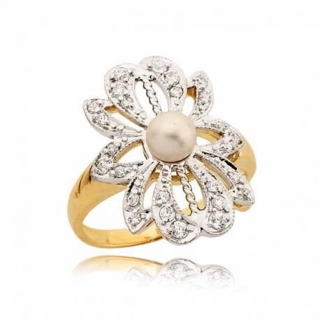 Złoty pierścionek z cyrkoniami i perłą