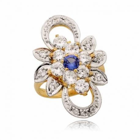 Niezwykle zdobiony pierścionek z topazem