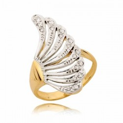 Piękny złoty pierścionek w kształcie wachlarza