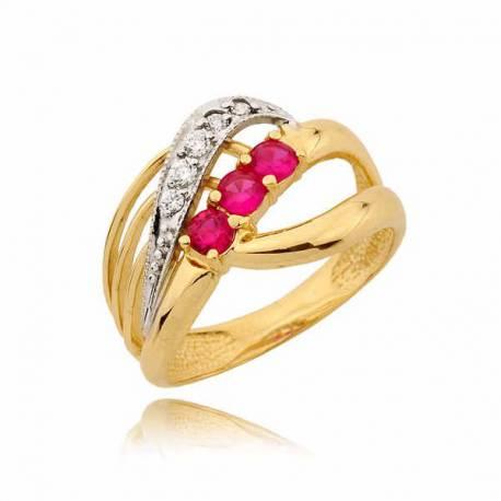 Niezwykły pierścionek z różowymi cyrkoniami