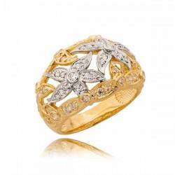 Pierścionek z dwoma kwiatuszkami z białego złota