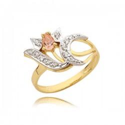 Uroczy złoty pierścionek z cyrkoniami