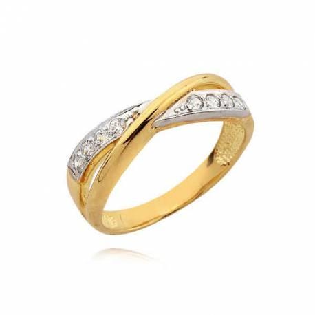 Delikatny pierścionek z białego i żółtego złota