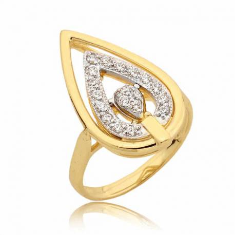Elegancki pierścionek z motywem łezki