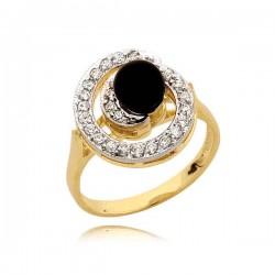 Elegancki pierścionek w formie ślimaczka z czarną perłą