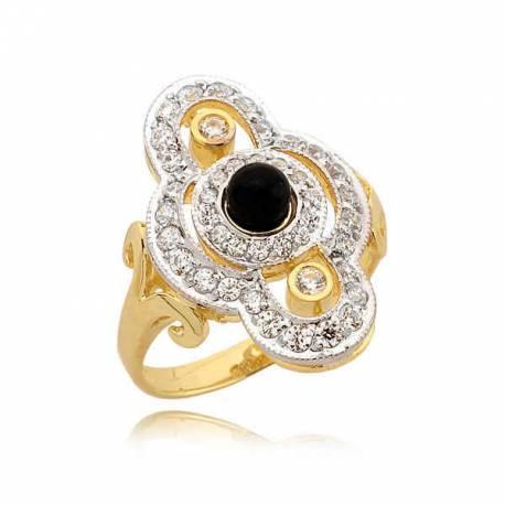 Złoty pierścionek z elegancką czarną perłą