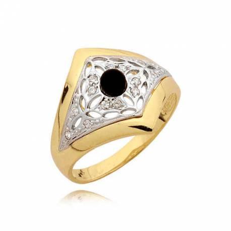 Efektowny pierścionek z czarną perłą
