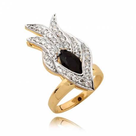 Prześliczny pierścionek z czarną cyrkonią