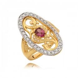 Przepiękny pierścionek z motywem jajeczka z różową cyrkonią