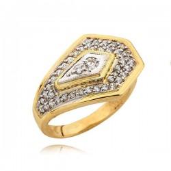 Złoty pierścionek orginalnie zdobiony cyrkoniami