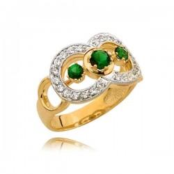 Złoty pierścionek z trzema zielonymi cyrkoniami