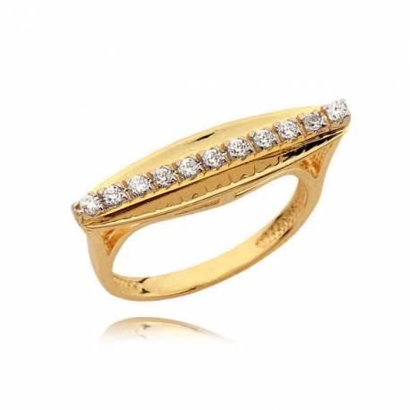 Złoty pierścionek o niezwykłym kształcie z cyrkoniami