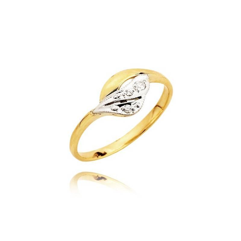 c8257176f36ace Złoty pierścionek z cyrkoniami w białym złocie