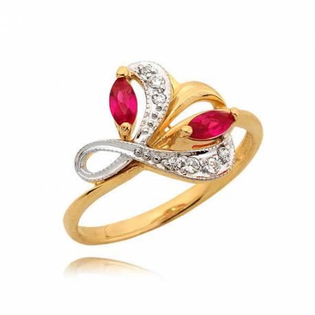 Elegancki pierścionek z wzorem literki L i dwoma różowymi cyrkoniami