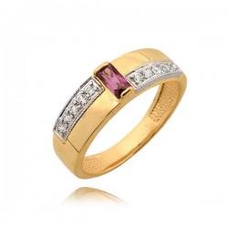 Elegancki złoty pierścionek z różową cyrkonią