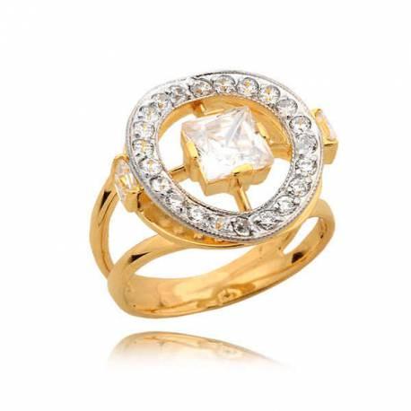 Złoty pierścionek z dużą cyrkonią w eleganckim okręgu
