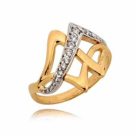 Złoty pierścionek z orginalnym wzorem i cyrkoniami