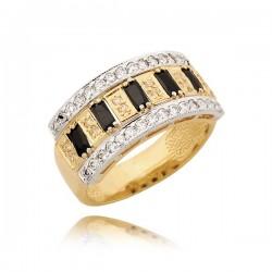 Bogato zdobiony złoty pierścionek model N182
