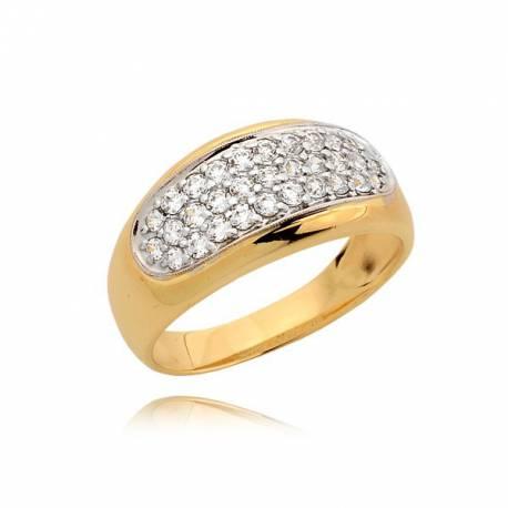 Śliczny złoty pierścionek z cyrkoniami