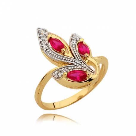 Złoty pierścionek z żółtego i białego złota N319