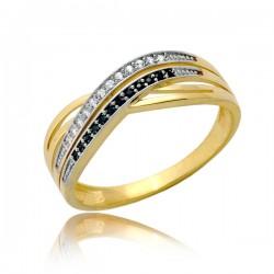 Kulisty złoty pierścionek damski P1908