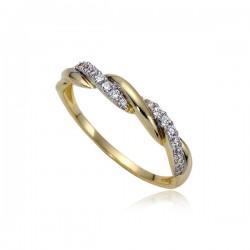 Przeplatany pierścionek złoty P1837