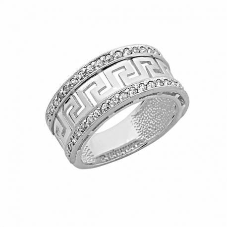 Złoty pierścionek,grecki wzór z cyrkoniami,białe złoto