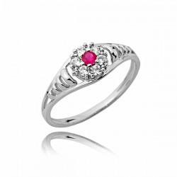 Złoty pierścionek z pięknym czerwonym kamyczkiem