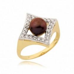 Złoty pierścionek z perłą N188
