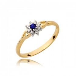 Delikatny złoty pierścionek, markiza złota