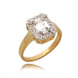 Złoty pierścionek z cyrkoniami i prostokątnym kamieniem