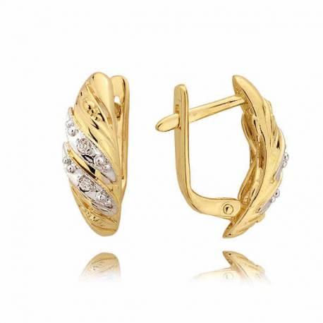 Kolczyki złote z cyrkoniami N18K