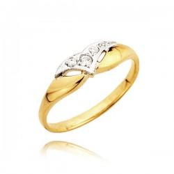 Pierścionek z żółtego i białego złota z cyrkoniami