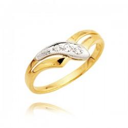 Elegancki pierścionek z żółtego i białego złota