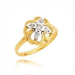 Przepiękny pierścionek w kształcie koniczynki z cyrkoniami