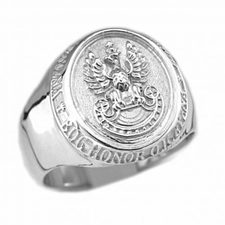 Srebrny sygnet patriotyczny z orłem w koronie