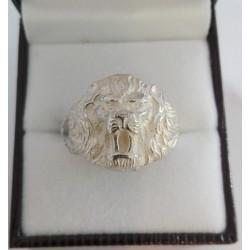 Srebrny sygnet,głowa lwa męski srebro 0,925