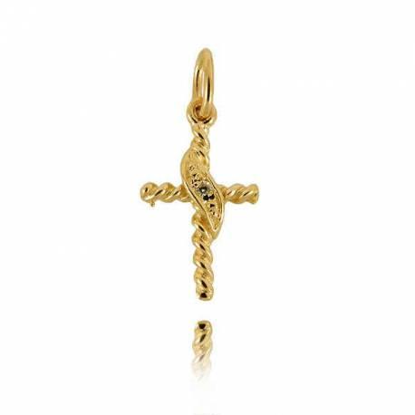 Wisiorek,złoty krzyżyk KR8