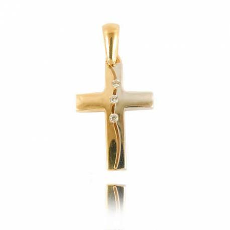 Wisiorek,złoty krzyżyk KR47