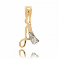 Wisiorek,złota literka z cyrkonią A