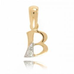 Wisiorek,złota literka z cyrkonią B